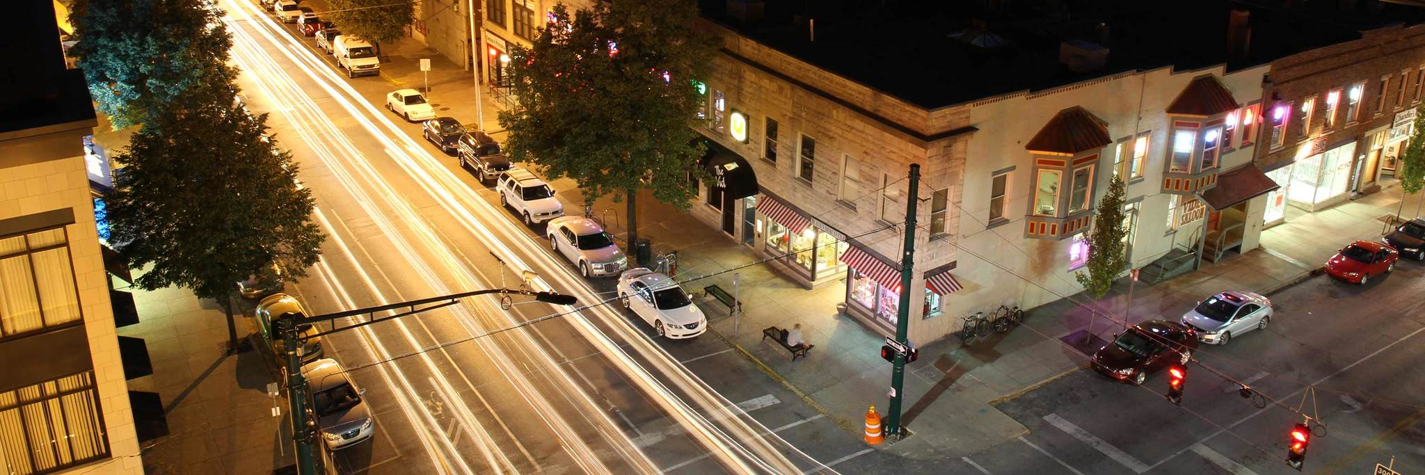 Downtown Bloomington street at night