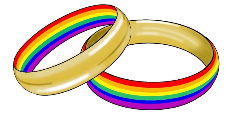 Marriage equality illustration of two rings