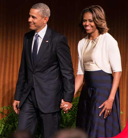 Barack Obama and wife Michelle at the Civil Rights Summit.