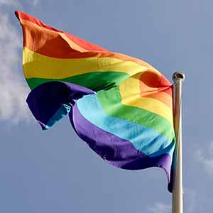 rainbow flag waving