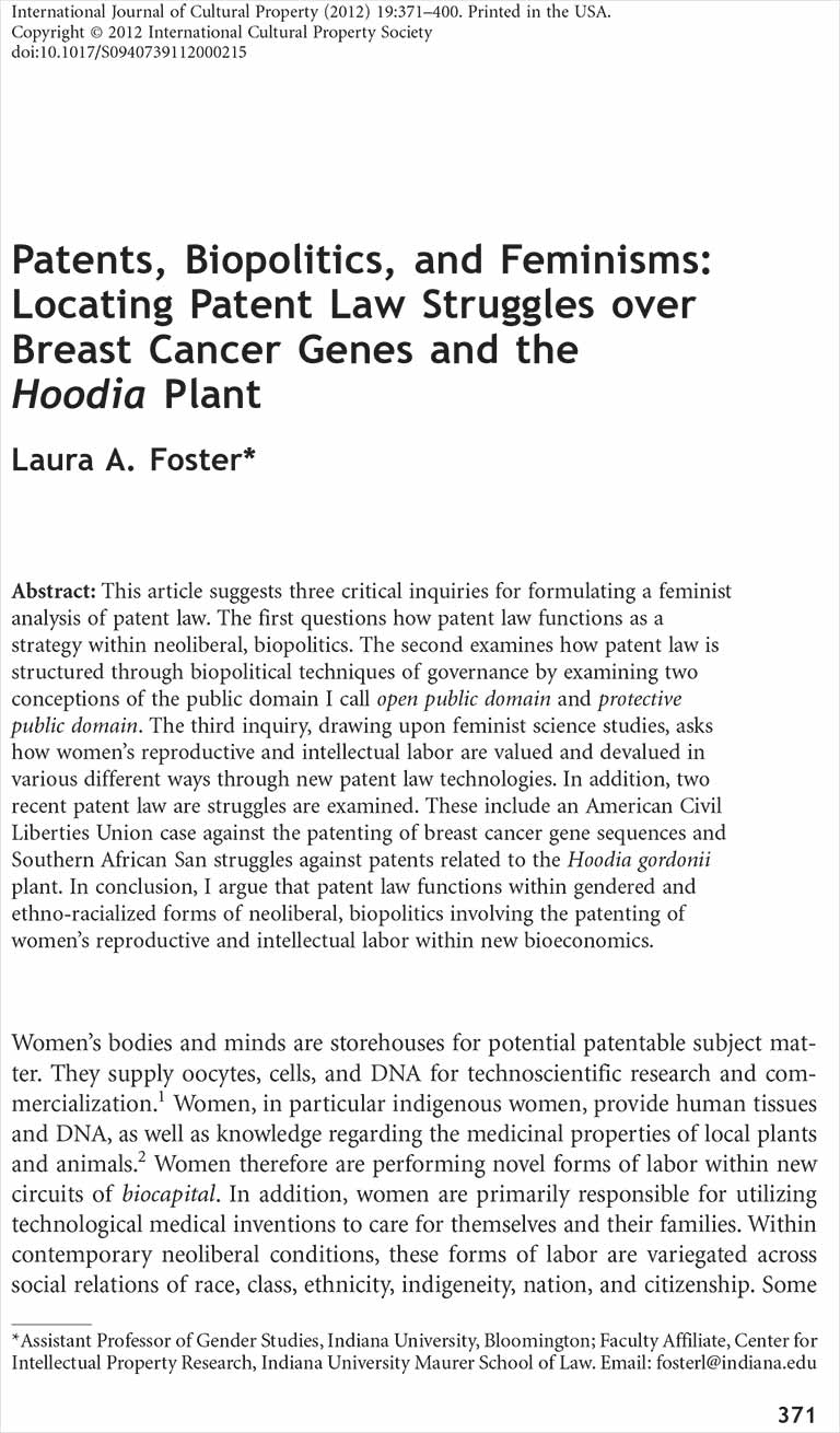 Patents, Biopolitics, and Feminisms: Locating Patent Law Struggles Over Breast Cancer Genes and the Hoodia Plant [Article]