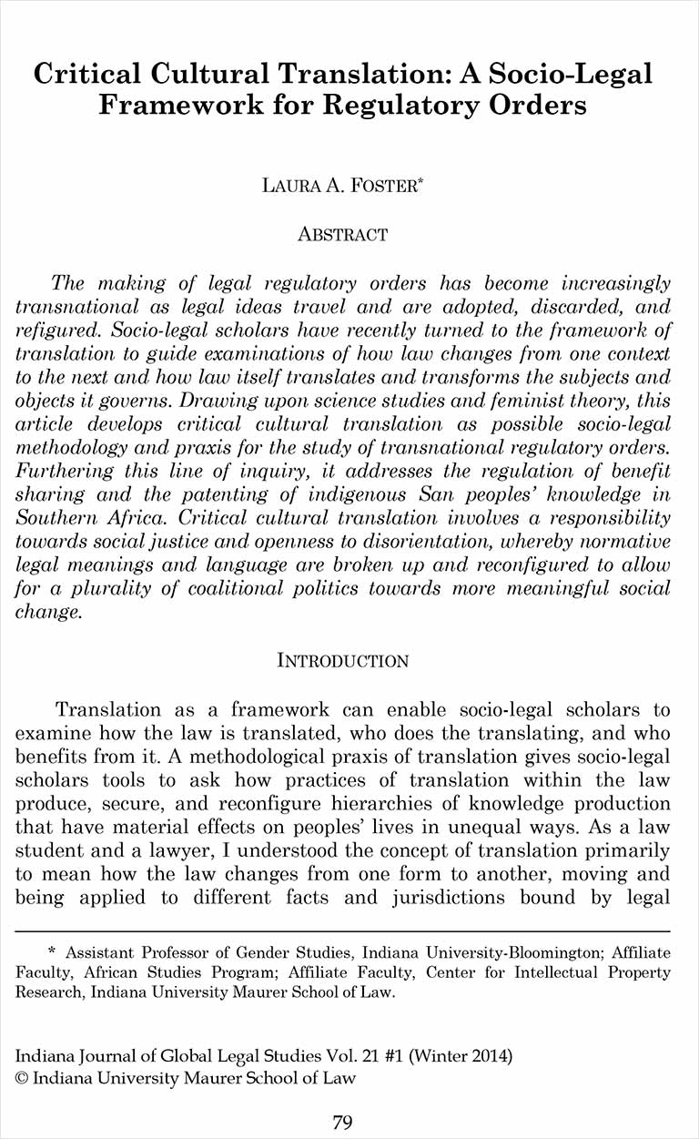 Critical Cultural Translation: A Socio-Legal Framework for Regulatory Orders [Article]