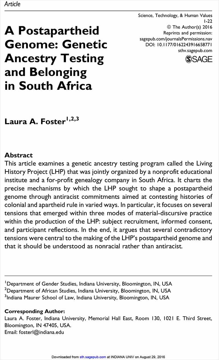 A Postapartheid Genome: Genetic Ancestry Testing and Belonging in South Africa [Article]